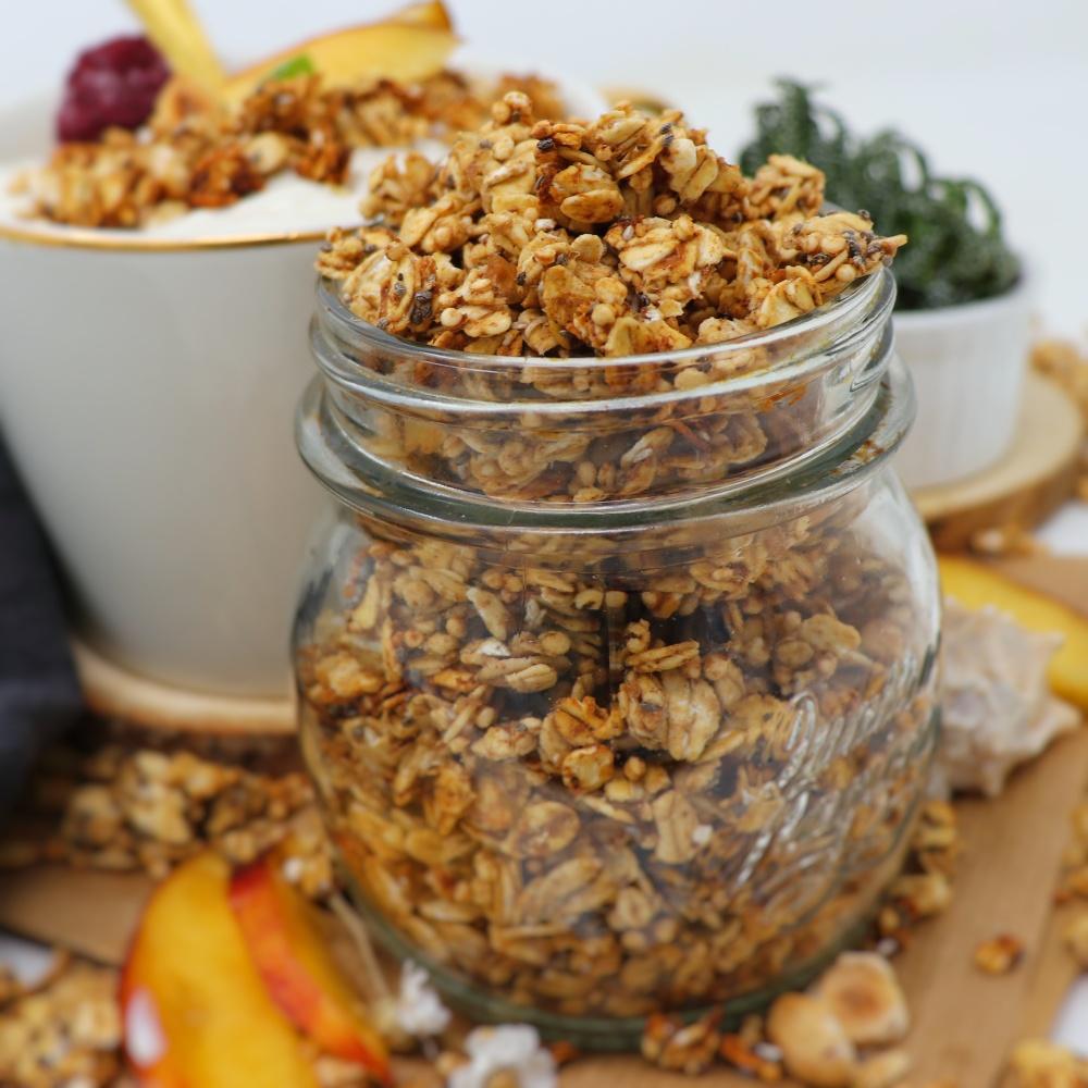 Granola con semi di chia, senza olio e senza zucchero