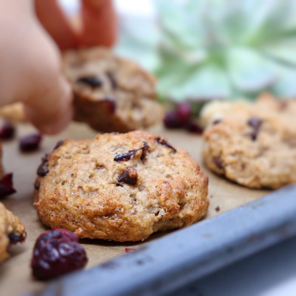 Biscotti mirtilli rossi e banana con farina di farro